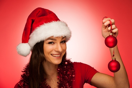 Christmas girl with ornaments