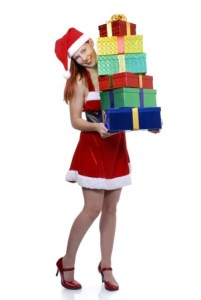 Christmas girl delivering presents