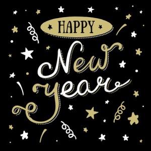 Happy New Year stars streamers vector
