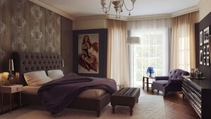brown purple regal bedroom