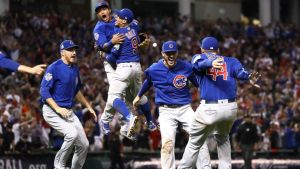 Chicago Cub celebrate their Game 7 win