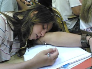Girl Sleeping during Exam