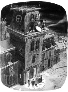 Charles Addams cartoon, pouring boiling oil on carolers