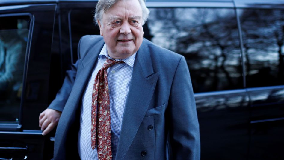 British Conservative Member of Parliament Kenneth Clarke, arrives at television studios in Milbank, central London