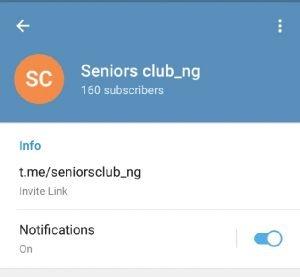 Seniors club telegram link