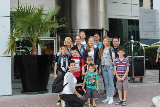 Group photo Dubai 23 June outside hotel Tracy's Camera