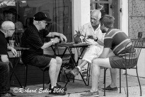 A gentleman regaling his friends at HonFest, 2016.