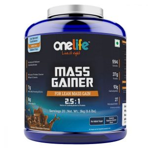 Onelife Mass Gainer Carb Protein ratio 25 1 27 micronutrients 8 g amino matrix DigeZyme®  Swiss Chocolate Flavour  3kg  onelife mass gainer