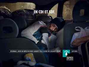 Illustration employee d´un under paid to lodge in his car then qu´il is in TDCI