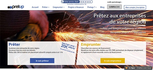 The d´accueil of the Pretup website page