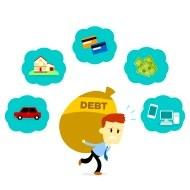 hombre con su deuda
