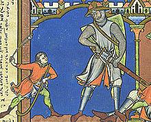 David et Goliath, enluminure, anonyme, v. 1250.
