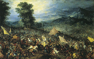 Jan Brügel anterior, la batalla de Gaugamela, 1602.