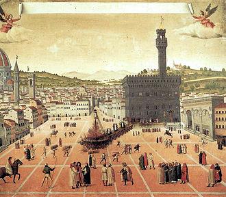Bûcher de Savonarole, anonyme, 1498, musée de Saint-Marc, Venise.