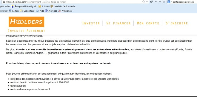hoolders investissement crowdfunding innovation co-investissement 10 combien emprunter