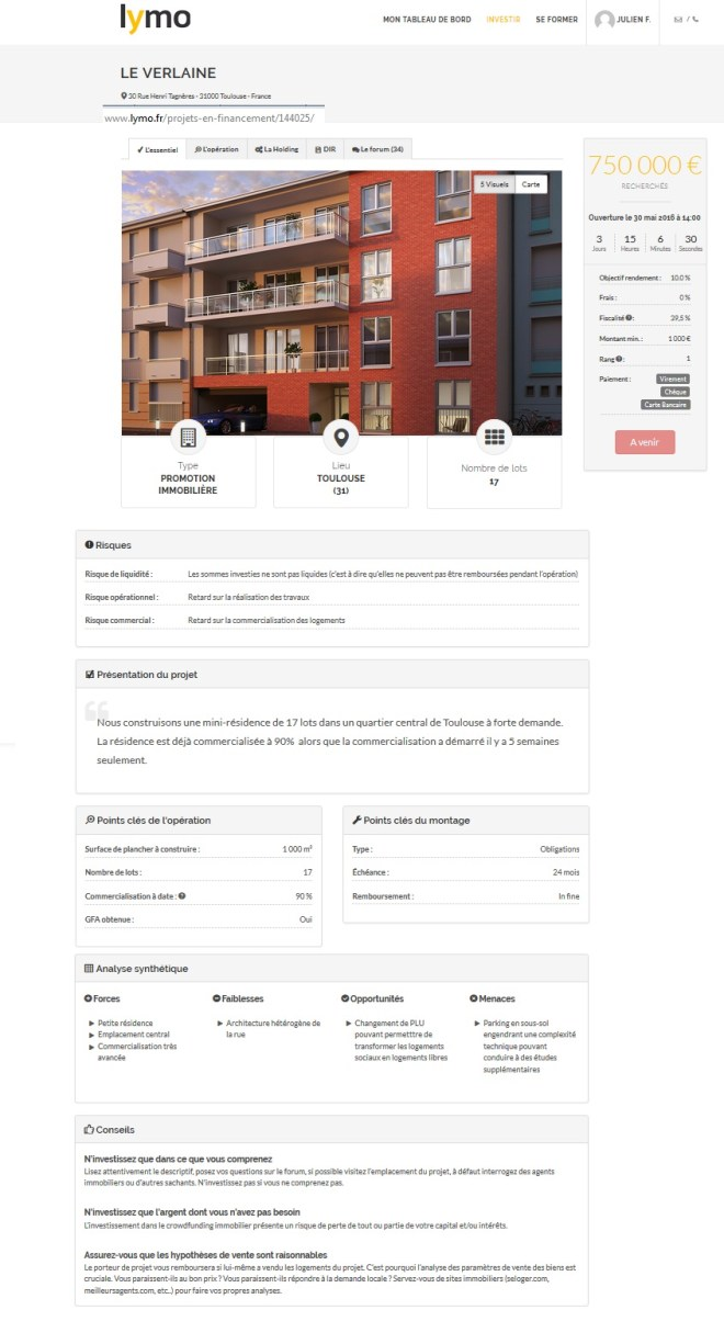 lymo crowdfunding corwdlending immobilier exemple d un projet