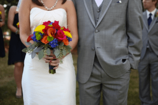 Primary colored wedding bouquet