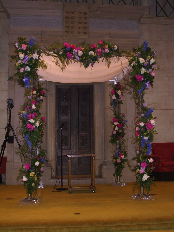 Pink and blue huppah