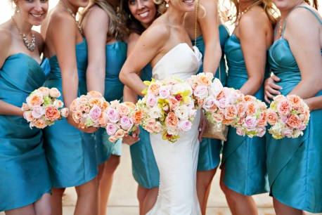 Pastel bridal party bouquets