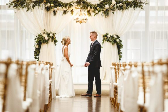 draping and flowers for wedding