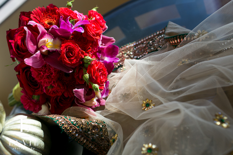 vibrant red and purple wedding bouquet