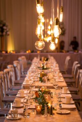 table decor with cafe lights