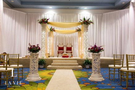 Mandap with flowers and draping