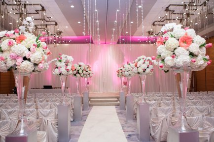 wedding aisle with centerpieces