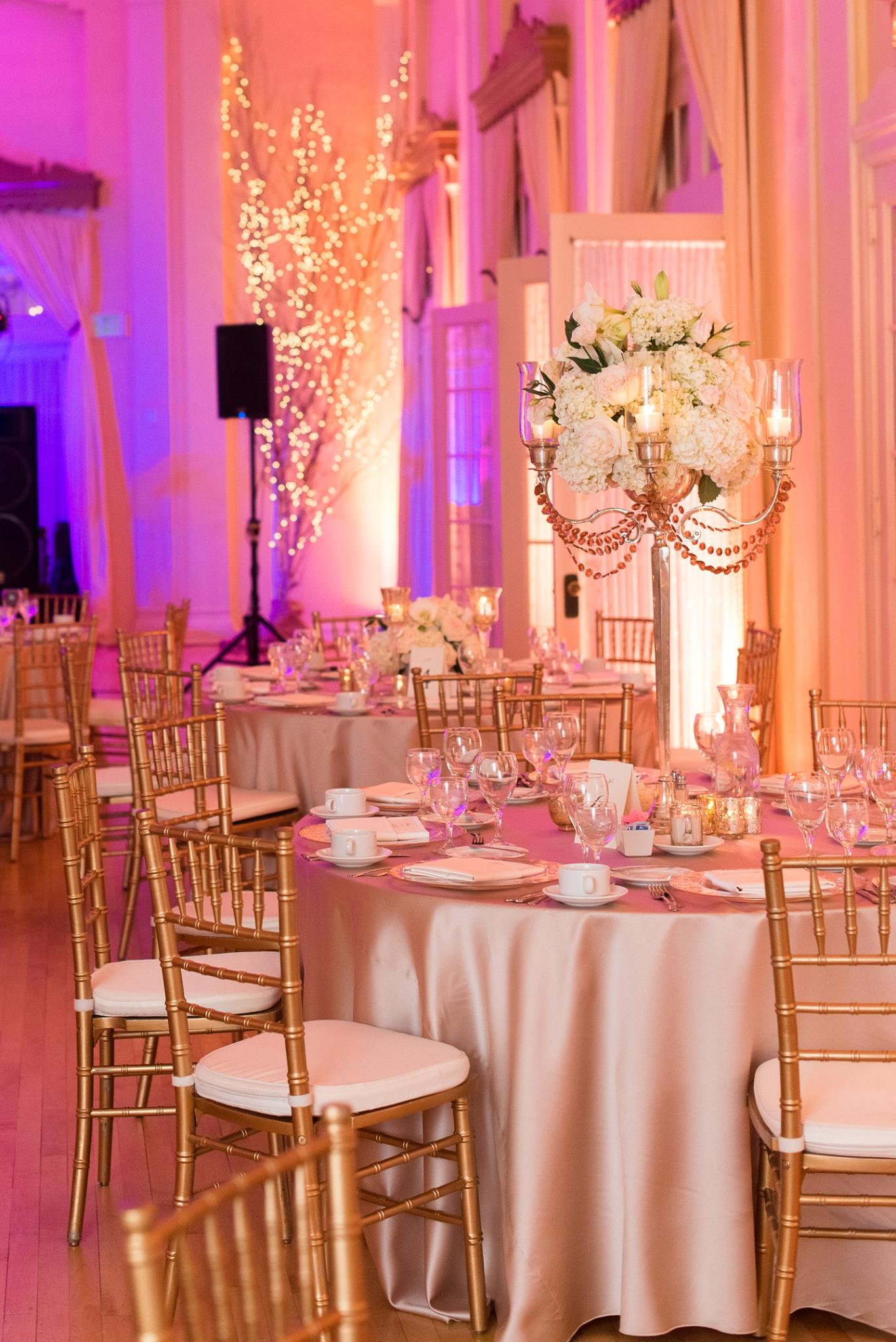 peachy and pink wedding reception