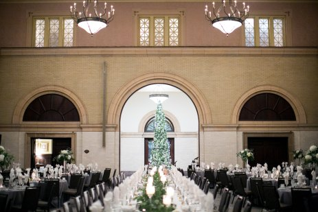 wedding reception Christmas tree and table decor