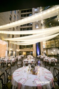 Draping and lights at wedding reception
