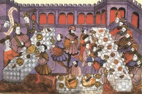medieval lords at a banquet