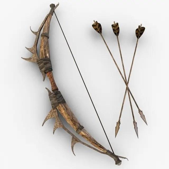 fantasy bow and arrow model