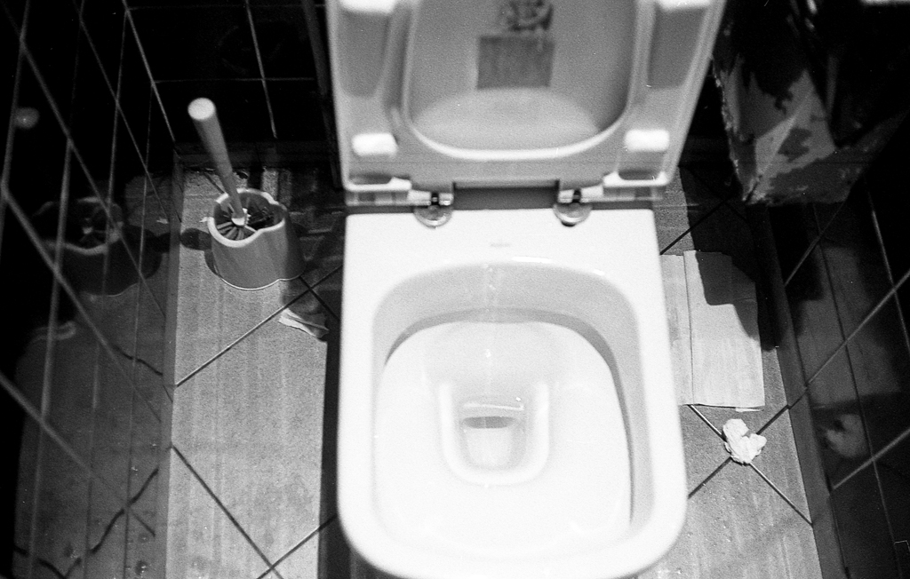 Toilets in black and white