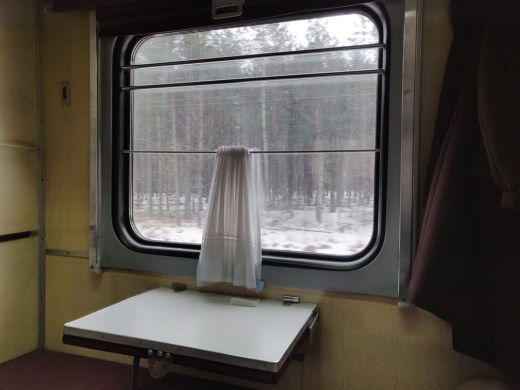 Train window, blury snowy forest outside