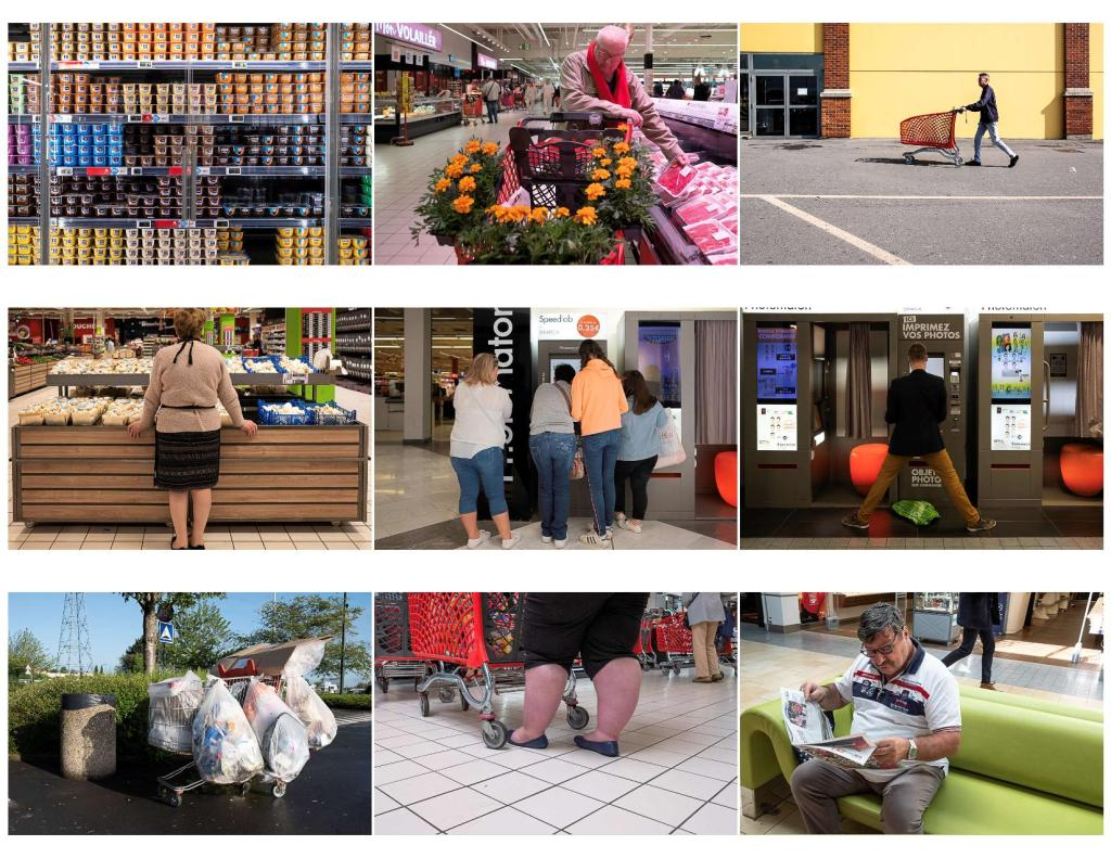 Supermarket and people shopping