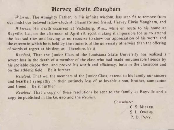 H E Mangham Gumbo Dedication - 1908