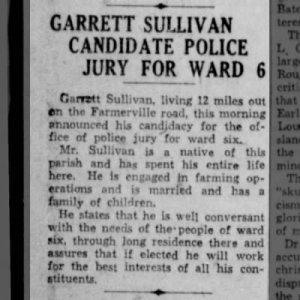 Garrett Sullivan - Police Jury Candidate, Ward 6