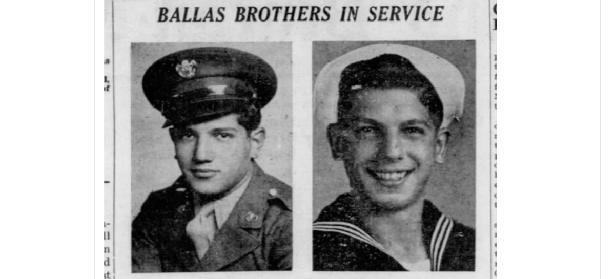 Ballas Brothers George and Pete, of Rayville, Give Update On Assignments In War - WWII - 1945 (George Ballas later becomes the inventor of the weed eater.)