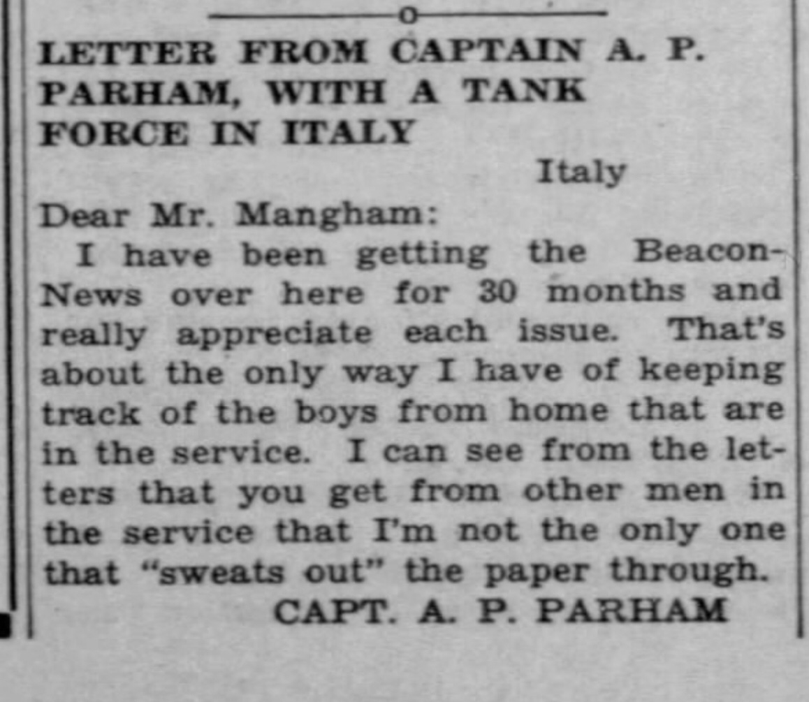 Letter Home from Captain A.P. Parham, with a tank force in Italy. WWII  1945