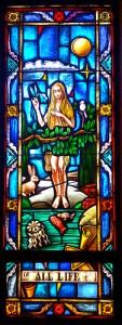 Eve leaving her sheltered life in the Garden of Eden