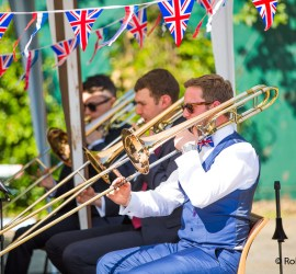 Trombones playing on Twickenham Riverside. Image credit: Robin Narayan