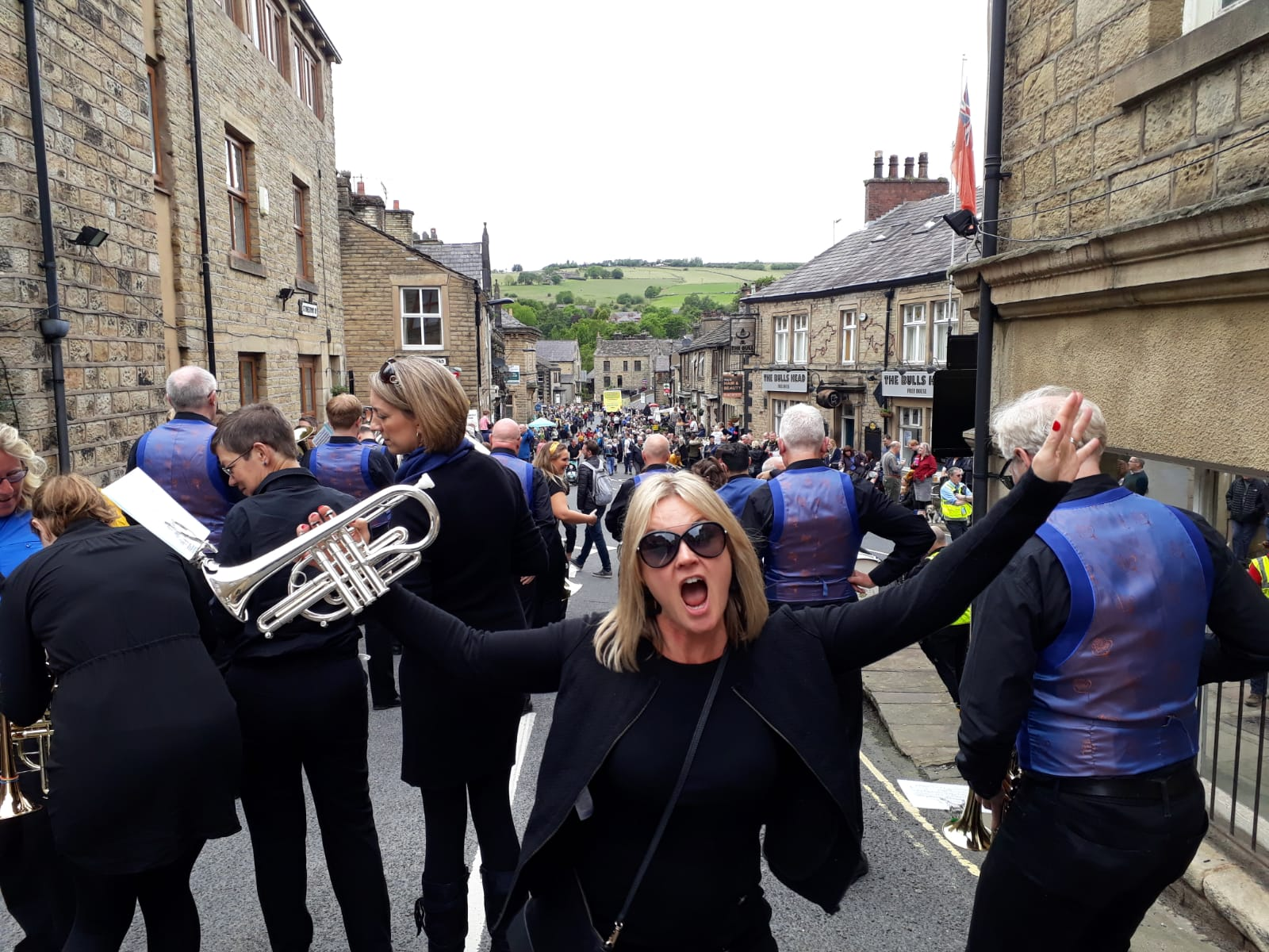 Cornet player excited