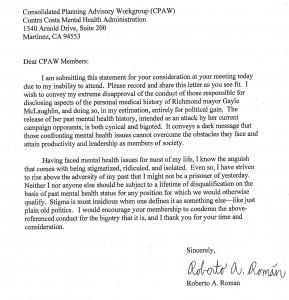 Letter from Roberto Román