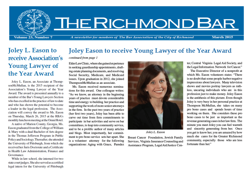 Joley named Young Lawyer of the Year by Richmond Bar Association, March 2015