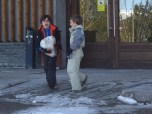 carrying block of snow