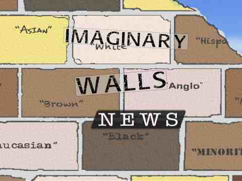 "A brick wall with racialized names on it, such as ""Angle,"" ""Brown,"" ""Hispanic"""