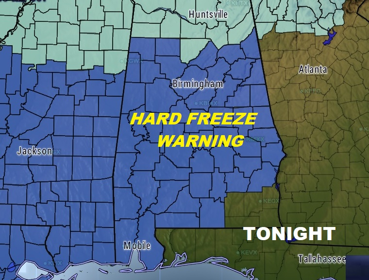Winter Mix for Some – Hard Freeze Warning Tonight & the Week