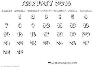 february 2016 calendar leap day