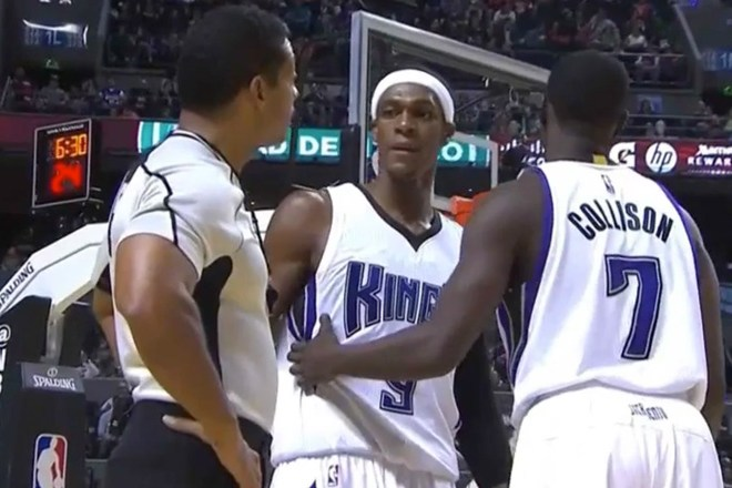 rajon rondo staring down referee bill kennedy